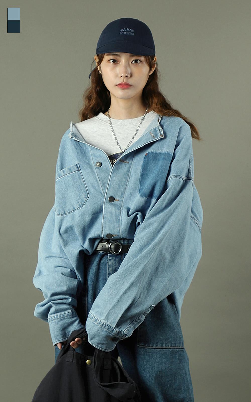 라운드넥 셔츠 청자켓